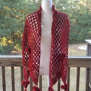 Lucky Brand 100% Acrylic Crocheted Deep Red Scarf